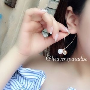 Gold-tone fish earrings w/Imitation Pearl